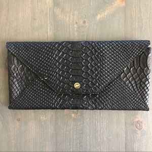 Abas Travel Wallet Envelope Clutch Wallet Black